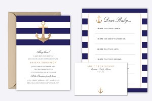 Nautical Navy Baby Shower Invite