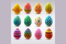 Set of realistic Easter eggs.
