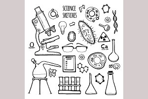 Science set. Sketch illustration.