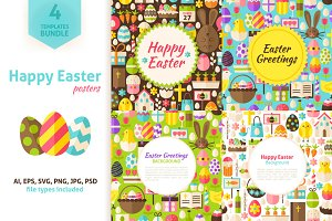 Happy Easter Vector Posters