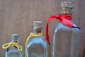 bottles with tie