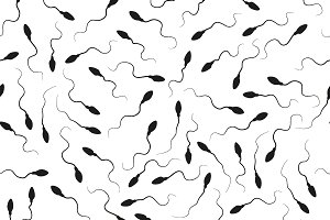 Black spermatozoids on white