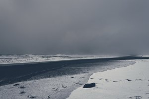 Black Sand Beach in Winter