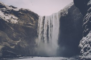 Waterfall in Winter (Vintage Look)
