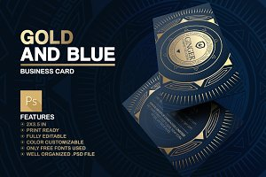 Gold And Blue Business Card