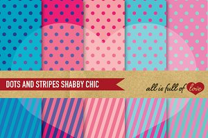 Dots Stripes Patterns in Blue & Pink