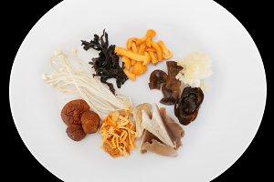 Asian mushrooms on plate