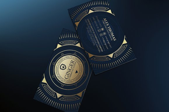 Gold and blue business card business card templates creative market colourmoves