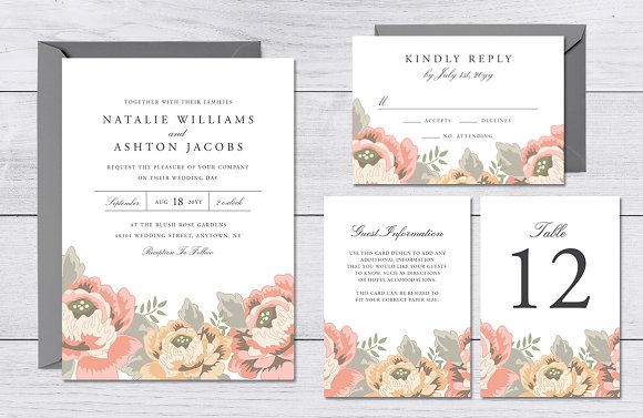 Vintage Floral Wedding Suite ~ Invitation Templates ~ Creative Market