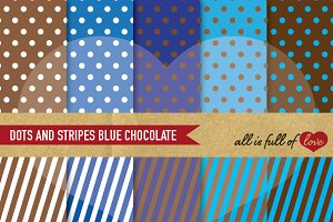 Blue and Brown Graphics Dots Stripes