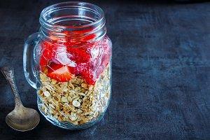 Jar with granola