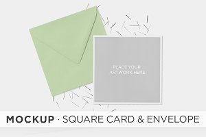Mockup . Square Card & Envelope