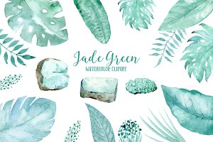Watercolor Clipart Jade Green