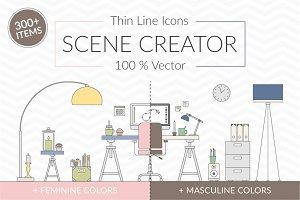 Vector Thin Line Scene Creator