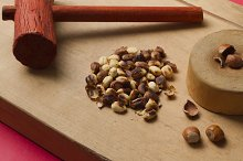 Hazelnuts on wooden background with hammer and anvil