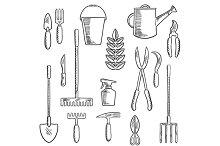 Gadening tools sketched icons set