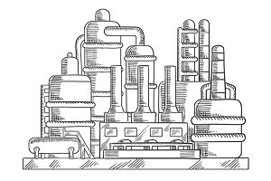 Oil refinery factory in sketch style
