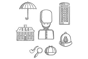 United Kingdom travel sketched icons