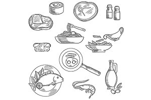 Healthy food sketch icons