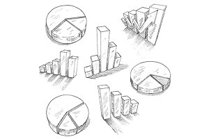 Sketched 3d charts and graphs