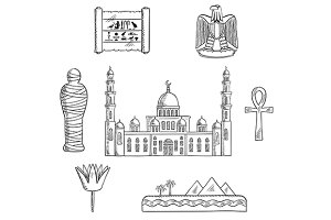 Egypt travel sketched icons