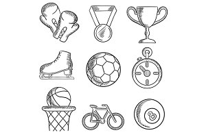 Isolated sketched sport games icons