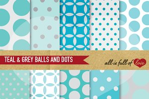Teal Grey Dotted Patterns Pack