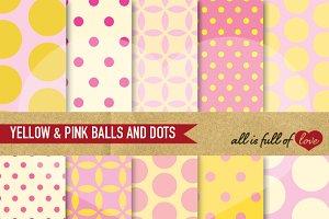 Yellow & Pink Balls Polka Dots Paper