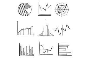 Sketched business graphs and charts