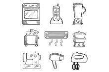 Home appliance sketched icons set