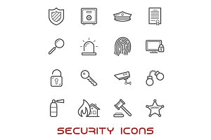 Security thin line icons
