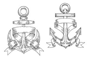 Sketched vintage marine anchors