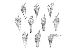 Sketched flaming torches