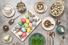 Table with colored Easter eggs