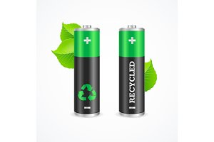 Recycled Battery Eco Concept.