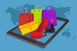 online shopping, fashion, vector