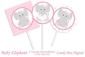 Girl Baby Elephant Cupcake Toppers