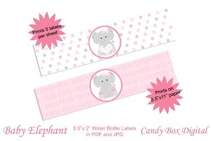 Baby Elephant Water Bottle Labels