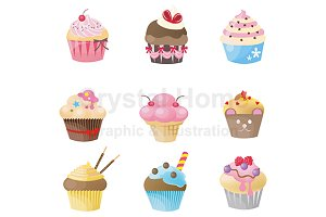 Cupcake icon collection set
