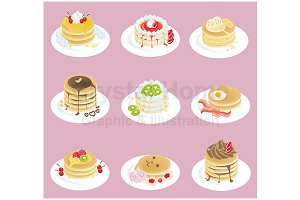 Pancake icon collection set