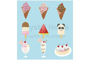 Ice cream icon collection set