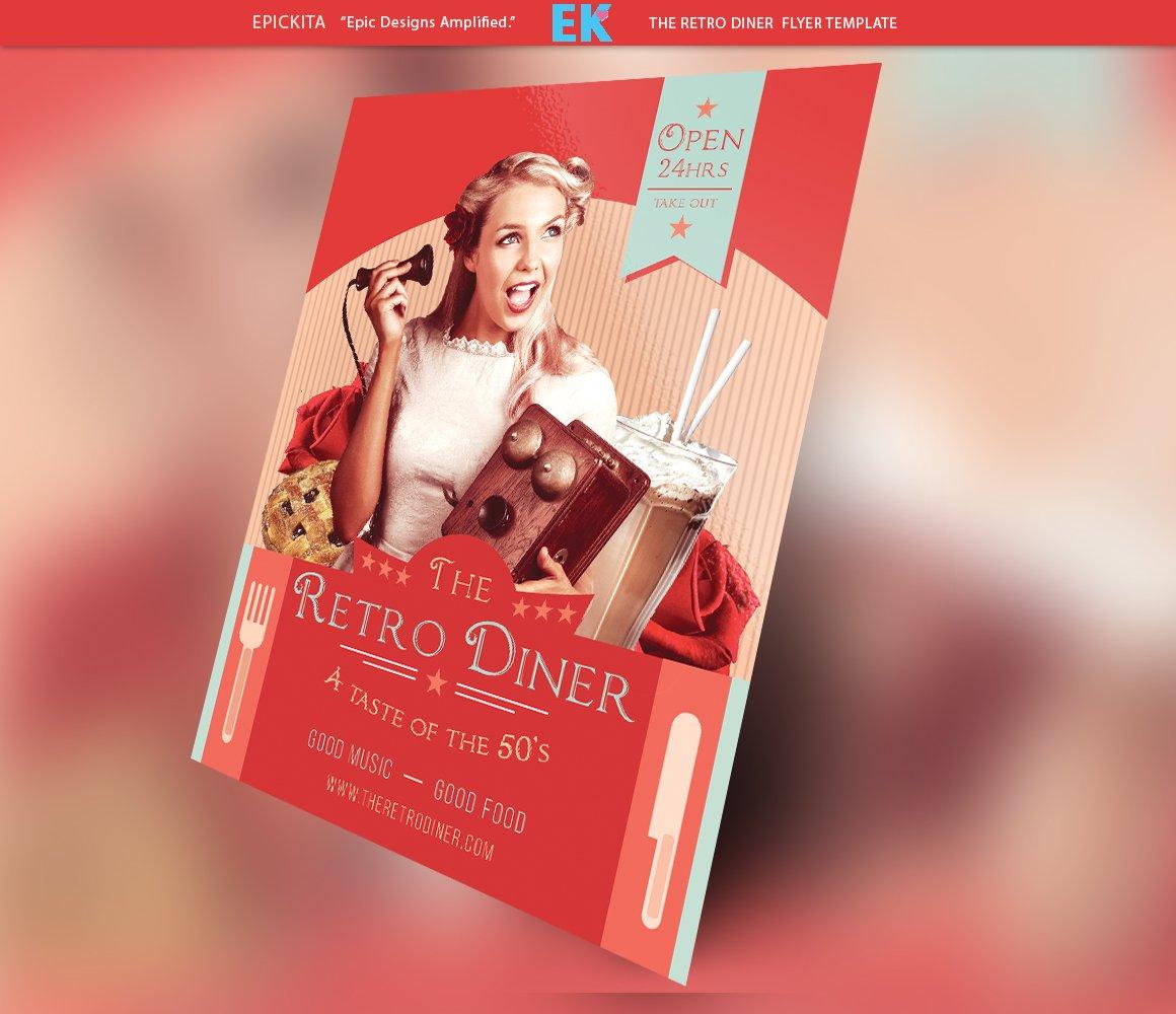 the retro diner flyer template flyer templates creative market