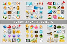 85 Business Icons Color Set.