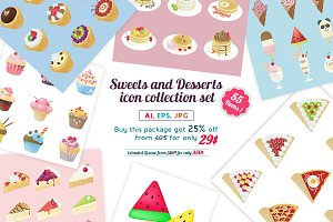 Sweets and Desserts icon set pack!