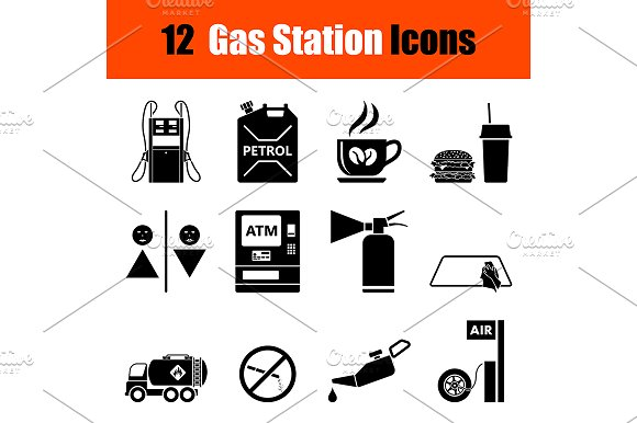 Set of Petrol station icons in Graphics