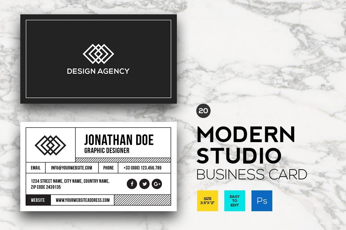 Modern Studio Business card #20 ~ Business Card Templates ~ Creative ...