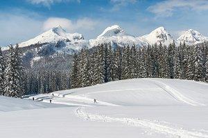 Ski runners under mountains