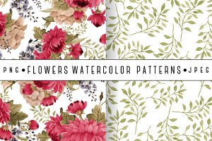 Seamless watercolor 2 patterns