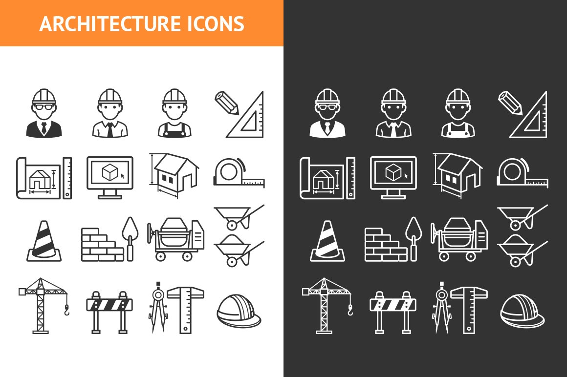 Architecture construction icons set icons creative market for Architecture icon