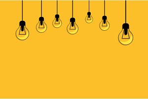Glowing Yellow Light Bulb. Idea
